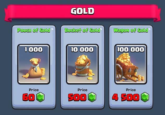 Comprar oro con gemas
